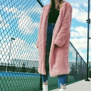 TRENDY DOLLZ Pink Plush Soft Faux Fur Jacket